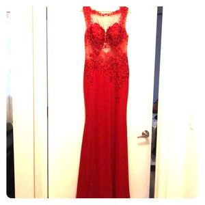 JVN Jovani Red Gown, embellished top